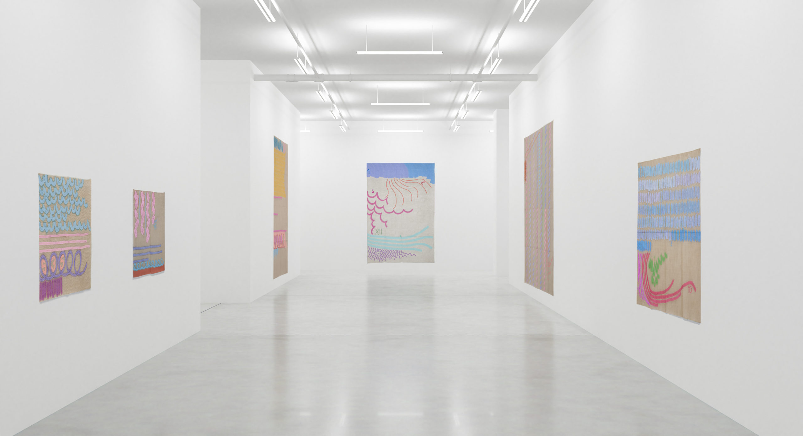 Installation view, Giorgio Griffa art exhibition, The 1990s at Casey Kaplan, New York, 2020