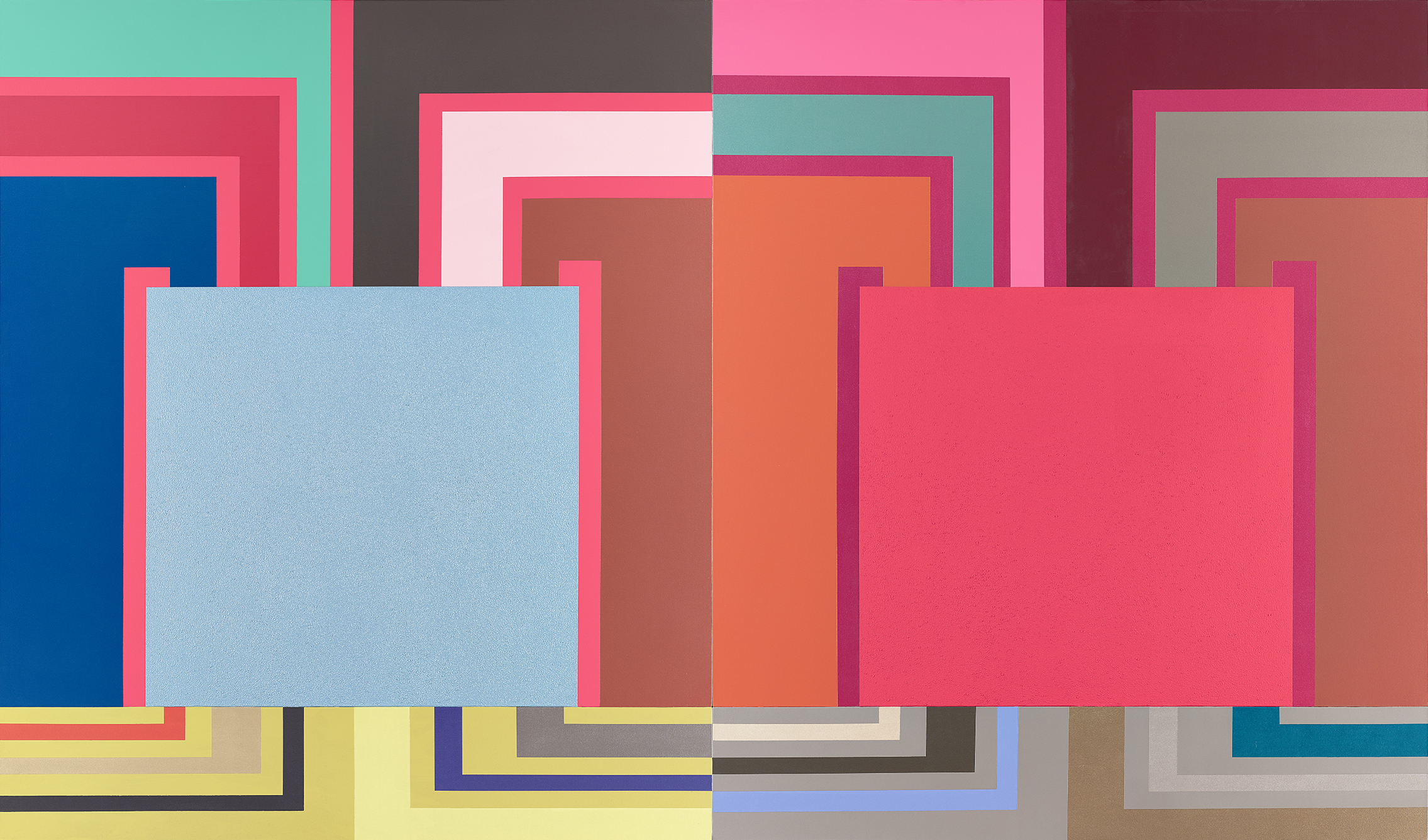 Sperone Westwater Peter Halley Heat, 2001, acrylic, fluorescent acrylic, metallic acrylic, pearlescent, acrylic, and Roll-a-Tex on canvas, cm 302.3x513.1